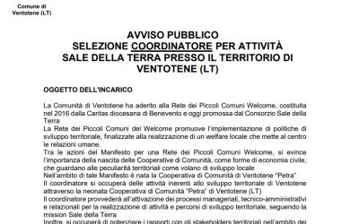 Avviso Pubblico – Selezione coordinatore per attività Sale della Terra presso il territorio di Ventotene (LT)